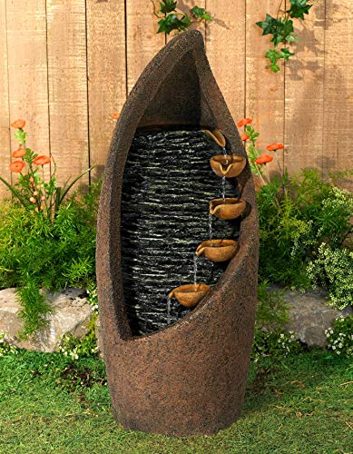 Modern Cascade Rustic Outdoor Floor Water Fountain with Light LED 34 1/2' High Southwestern Cascading for Yard Garden Patio Deck Home - John Timberland