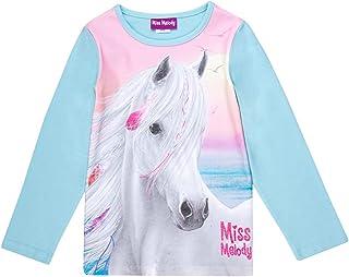 Miss Melody Niñas T-Shirt, Camisa de Manga Larga, Azul