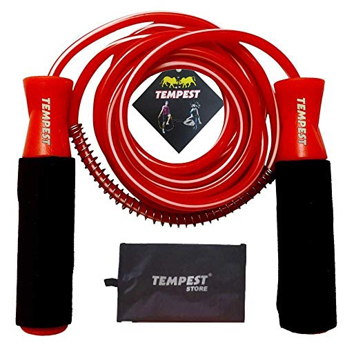 """TEMPEST Red Skipping Rope with Ball Bearings Speed Jump Rope Cable and 6"""" Memory Foam Handles Ideal for Aerobic Exercise Like Speed Training, Extreme Jumping, Weight Loss and Fitness Gym"""