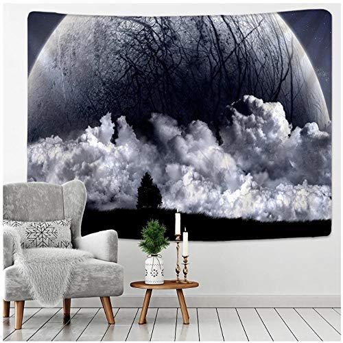 KBIASD Tapiz de Luna en Blanco y Negro Cielo Estrellado Tapiz de Pared Manta de Playa Picnic Estera de Yoga Sala de Estar Decoración Paño de Pared 150x130cm