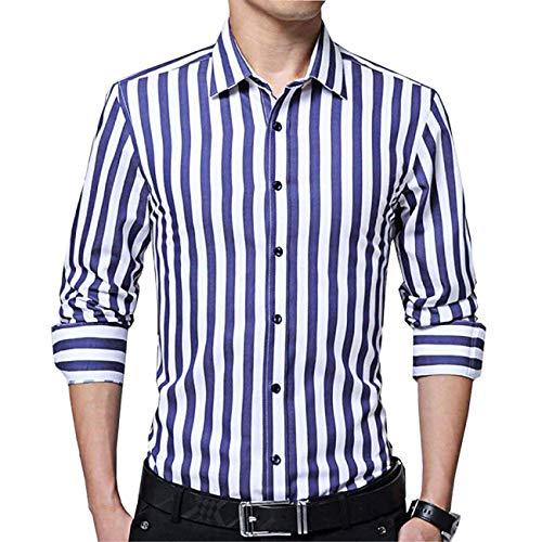 Menshirt gestreept heren hemd met lange mouwen katoen M-3XL katoen 95% kraag jeugd rode en blauwe strepen witte en blauwe strepen
