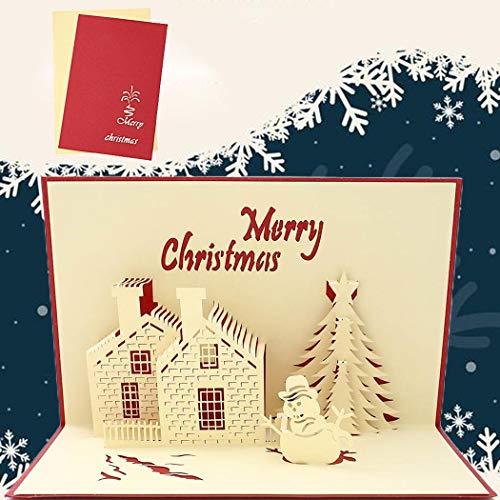 Sethexy Pop-Up kartki świąteczne 3D choinka żywe bałwan kartki z życzeniami z kopertami romantyczne Wesołych Świąt prezenty dla rodziny najlepszego przyjaciela chłopaka dziewczyny