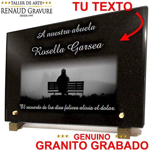 Placa funeraria Banco Persona Lago, en Granito Grabado, Personalizable 30 x 20 x 2 cm