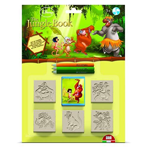 Multiprint Blister 5 Stempel für Kinder Disney Il Libro Della Giungla, 100% Made in Italy, Benutzerdefinierte Stempelset Kinder, in Holz und Naturkautschuk, Ungiftige Waschbare Tinte, Geschenkidee, 05772