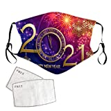 Unisex Winter Ski Face_Mask, Outdoor Protect 2021 Happy New Years Print Face_Cover with Earmuffs Balaclava for Cycling Bicycle Motorcycle Face_Mask