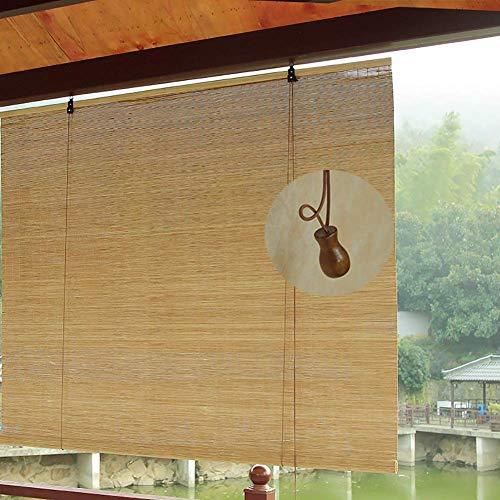 JSONA Cortinas enrollables Exteriores para Patio al Aire Libre para cenador/balcón/Puerta de Entrada, estores de bambú con Gancho, 60 cm / 80 cm / 100 cm / 120 cm / 140 cm de Ancho (tamaño: 80