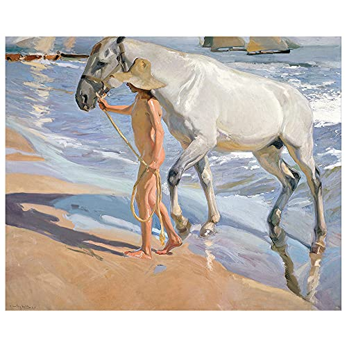 Legendarte - Stampa su tela - Il Bagno Del Cavallo - Joaquín Sorolla - Quadro su Tela, Decorazione...