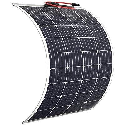 POWOXI Solar Panel 100 Watt Flexible - Updated 12V Off Grid RV Solar Panel for Marine RV Boat Cabin Van Car Uneven Surfaces Heavy-Duty Weatherproof