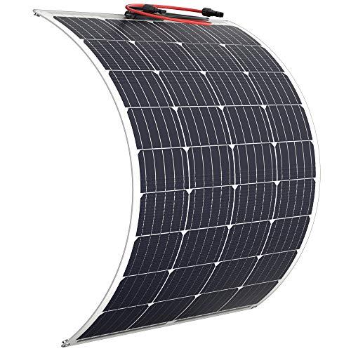 Solar Panel 100 Watt Flexible - Updated 12V Off Grid RV Solar Panel for Marine RV Boat Cabin Van Car Uneven Surfaces Heavy-Duty Weather Proof