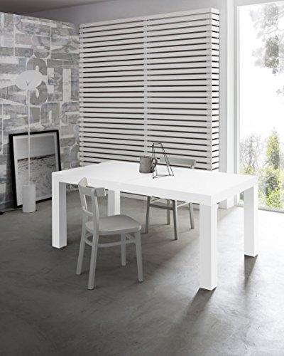 icreo Table Extensible Mod. Bacco Blanc frassinato Poro Ouvert cm 160 x 90 cm Hauteur 75 avec 2 allunghe de cm Extensible 40 à 200 ou cm 240 cm en Panneaux melaminico de Haute qualité.Produit Italien