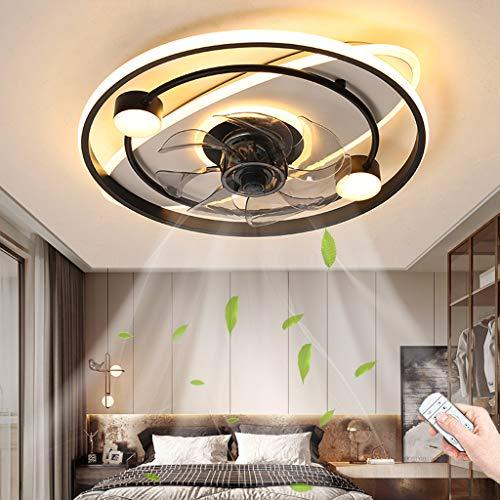 Ventiladores De Techo LED Iluminación 50W Control Remoto De Atenuación Ventilador Lámpara De Techo Temporización Silencioso Ventilador Luz De Techo Para Habitación De Niños Sala De Estar Lámparas (A)