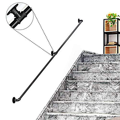 ZCFXGHH Schwarz Industrieller Treppenhandlauf Komplett-Satz  Ältere Treppe Geländer Treppengeländer for Heim Innen Außen Korridor Loft  Balustrade Geländer Schmiedeeisen  ,7ft/210cm
