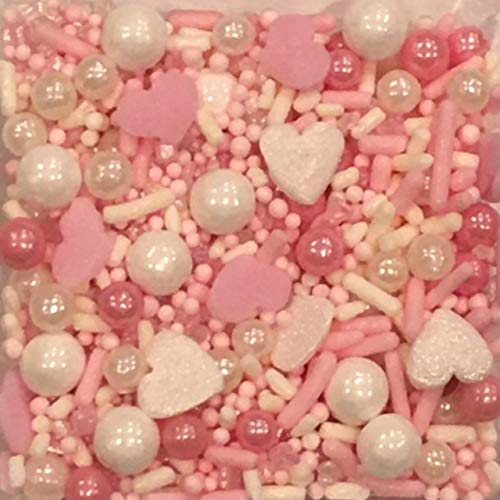 Valentines Day Sprinkles for Baking and Decorating Cupcakes, Cakes, Cookies, and Ice Cream!I 8 oz I Pink I White I Edible Party Supplies I Cool Mom Sprinkles