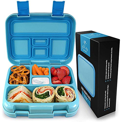Zulay Kids Bento Box - Durable & Professionally Designed Bento Box for Kids Leakproof - This Toddler Bento Box Has Friendly Latches for Easy Access & 5 Perfectly Proportioned Compartments