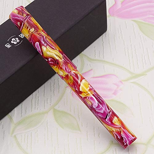 LIY Live In You Red Marble Resin Fountain Pen, Schmidt Fine Nib Writing Gift with Pen Holder Pouch Case Set