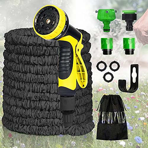Flexischlauch, Flexibler Gartenschlauch 30M 100 FT, Wasserschlauch Ausgedehnt Gartenteich Flexi Wonder Schlauch Gartenschläuche mit 10 Funktion Garten Handbrause für Autowäsche, Gartenbewässerung