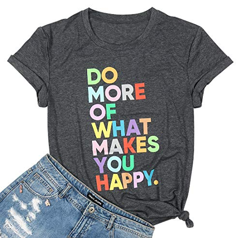 Women's Fun Happy Graphic Tees Cute Short Sleeve Letter Printed T-Shirts Tops(XL,Dark Grey)