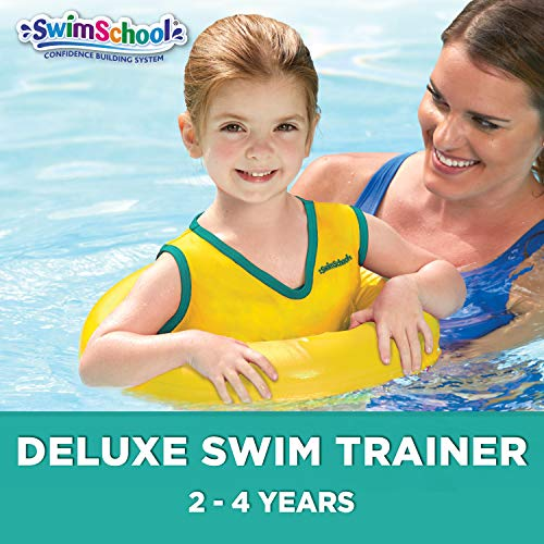 SwimSchool TOT Swim Trainer Vest for Toddlers and Young Kids, Pool Float, Learn-to-Swim, Adjustable Safety Strap, Heavy Duty, Yellow