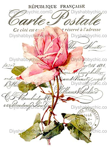 Vinilo decorativo para muebles de madera, diseño vintage con texto en inglés 'Rose letra', pegatina, A6 - 4.1 x 5.8 Inches