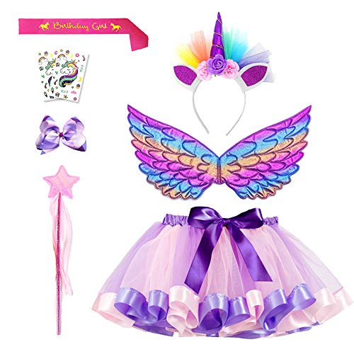 Product Image of the Purple Tutu Unicorn Tutu Skirt Set 8 Pack for Little Girls Birthday Dress Up...