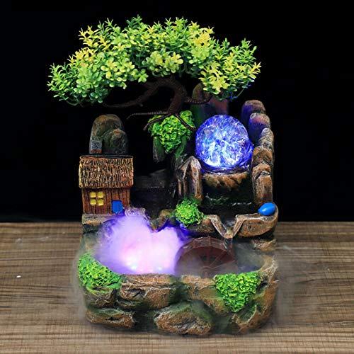 Aohuada - Fontana da interni, per interni, in resina, a cascata, giardino, pietra, fontana ad acqua, umidificatore con luce LED per soggiorno, ufficio