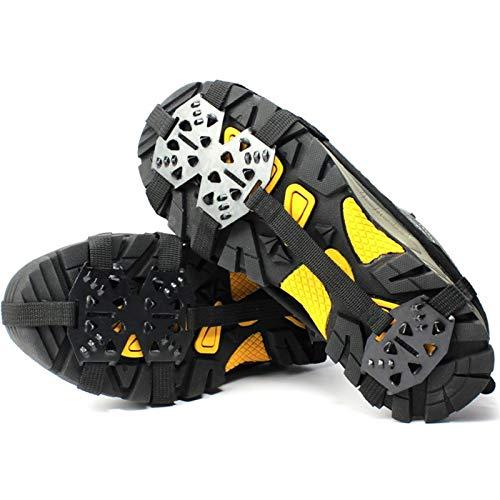 YOBAIH Crampones De 24 Dientes Pinza de Hielo para Zapatos Mujeres Hombres Hombres Amplios Antideslizantes Gripper Spike Grips Pendientes para Hielo Senderismo Senderismo (Shoe Size : L Size)