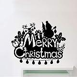 hetingyue Feliz Navidad Etiqueta de la Pared del árbol de Navidad de Regalo Santa calcomanía de Vinilo Familia jardín de Infantes decoración Impermeable Interior Altura 53x42 cm