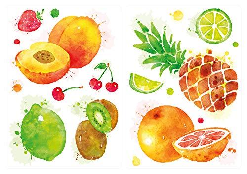 dekodino® Wandtattoo Küche Set Aquarell Obst Pfirsich Orange Ananas Wandsticker