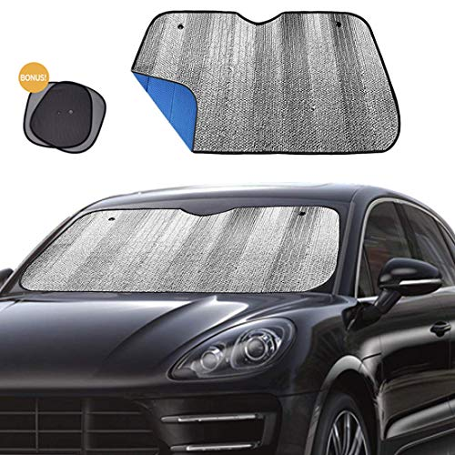 "Big Ant Windshield Sun Shade Car Window Sunshade as Bonus,Protect Your Car from Sun Heat & Glare Best Foldable UV Ray Visor Protector Visor Shield Cover Keeps Vehicle Cool-Blue(Size 55"" x 27.5"")"