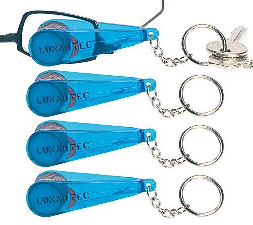 PEARL Brillenputztuch: 4er-Set Brillen-Putz-Zangen mit Tüchern im Schlüsselanhänger (Brillen Reinigungsgerät)