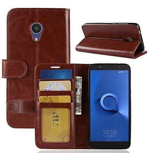 Litao-Case CN Custodia per Alcatel 1X 5059T 5059D 5059Y Custodia Flip in Pelle PU + Cover Case in Silicone Fissa Protezione 1