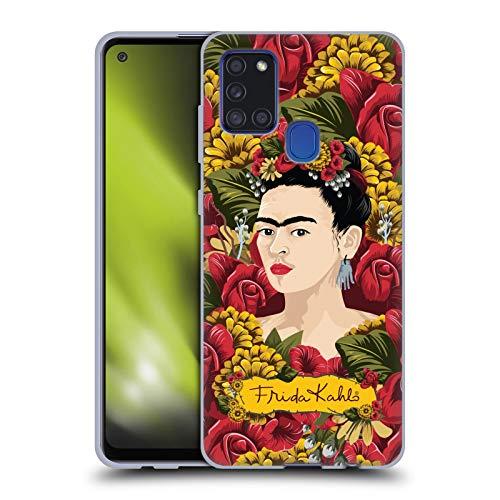 Head Case Designs Licenza Ufficiale Frida Kahlo Pattern Ritratto Floreale Rosso Cover in Morbido Gel Compatibile con Samsung Galaxy A21s (2020)
