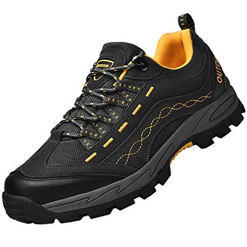 Unitysow Herren Trekking Wanderschuhe Damen Hiking Schuhe Outdoor Sports Leicht Sneaker Walking Schuhe Atmungsaktiv Turnschuhe Wanderhalbschuhe für Unisex,Grau Gelb,42EU