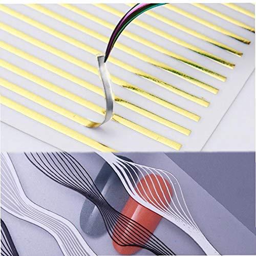 CULER 1pcs Stripes Ligne 3D Nail Art Autocollant Bande métal Vague Ongles Autocollants de décoration Auto-adhésif Autocollant Foils Conception Autocollants Style aléatoire