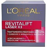 L'Oréal Paris Crema Viso Giorno Revitalift Laser X3, Azione Antirughe Anti-Età con Acido...