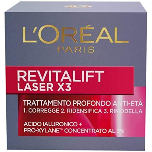 L'Oréal Paris Crema Viso Giorno Revitalift Laser X3, Azione Antirughe Anti-Età con Acido Ialuronico e Pro-Xylane, 50 ml