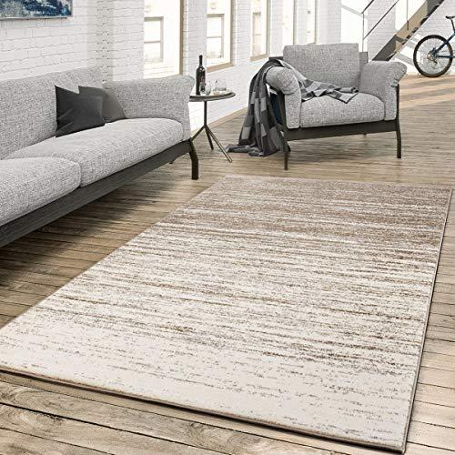 T&T Design Teppich für das Wohnzimmer Farbverlauf Modern Creme Beige, Größe:140x200 cm