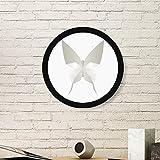 DIYthinker Mariposa Blanca de Origami Modelo Abstracto Arte Pintura Foto de la Imagen de Madera Marco Redondo Regalo a casa decoración de la Pared Grande Negro