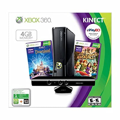 Xbox 360 4GB Console with Kinect Sensor: With Kinect Disneyland Adventures + Kinect Adventures