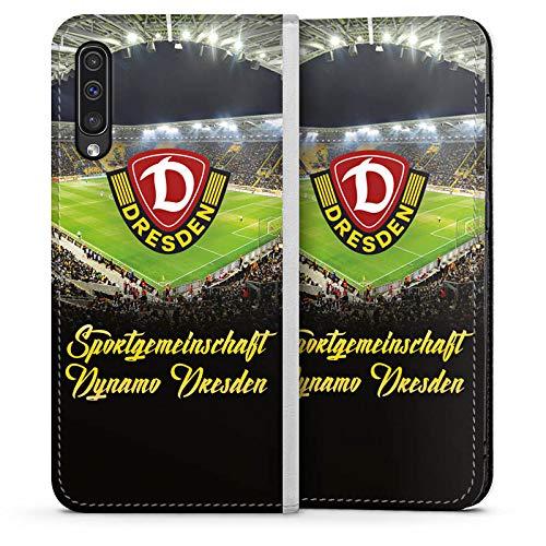 Klapphülle kompatibel mit Samsung Galaxy A50 Handyhülle aus Leder weiß Flip Case SGD SG Dynamo Dresden Offizielles Lizenzprodukt