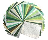 50 Sheets Mixed Green A4 Thin Mulberry Paper Sheet Design Craft Hand Made Art Tissue Mulberry Paper Sheets...