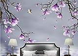 3D Fototapete 3D Effekt Hd Hand Gezeichnete Magnolien-Blumen-Vogel-Hintergrund-Wand Tapete Vlies Wandbild Wohnzimmer Hintergrundbilder Wanddeko