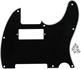FLEOR 3-Ply 8 Holes Scratch Front Plate Tele MINI Humbucker Pickguard para reemplazo de guitarra estilo Telecaster, negro/blanco/negro, tornillo montado