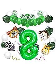 Sunshine smile 8. Verjaardagsdecoratieset, jungle kinderverjaardagsdecoratie, safari verjaardagsdecoratie, jungle verjaardagsfeestdecoratie, folieballon dieren, enorme folieballonnen, palmblaadjes decoratie