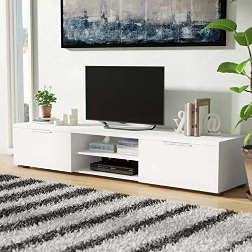 Tagonn- Tv Stand for 75 Inch Tv-Entertainment Center 75 inch Tv - White Open Shelves and Drawers Enclosed Storage- Its Versatile Design and Function Make It A Great Fit in Your Home