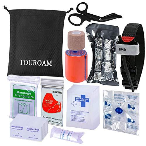 TOUROAM Kit de Premiers Secours médical Sac de Sauvetage IFAK Molle Combat Militaire Tourniquet, Bandage israélien, kit de Premiers...