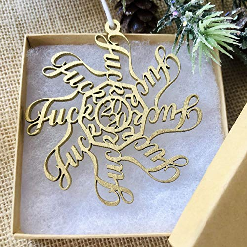 Fuck Snowflake - 2020 Christmas Ornament - Golden Fuckflake - COVID Coronavirus Remembrance Keepsake Gift - With Ribbon and Gift Box