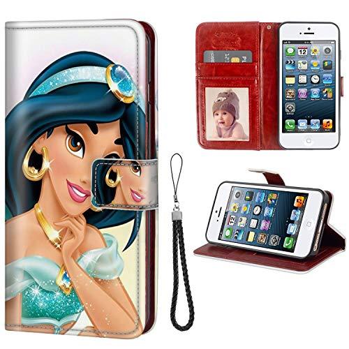 DISNEY COLLECTION Wallet Phone Case iPhone 5C Disney Princess Jasmine Premium PU Leather Cash Card Slots Wrist Strap Lanyard Design Nice