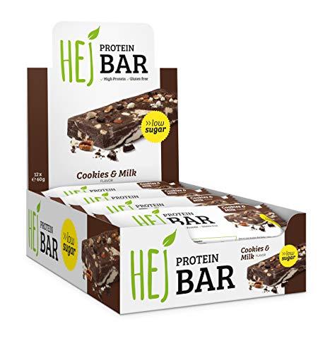 HEJ Protein Bar - Protein Riegel ohne Zuckerzusatz - Eiweißriegel - Fitness Riegel Protein - Geschmack Cookies & Milk - 12er Pack (12 x 60g)