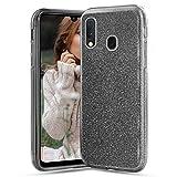 Glitter Cover per Samsung Galaxy A40, Crystal Glitter Ultra Sottile Morbido TPU Silicone Trasparente Case Colorate Brillantini Bling Protettiva Antiurto Hybrid Semi Rigida Custodia, Nero